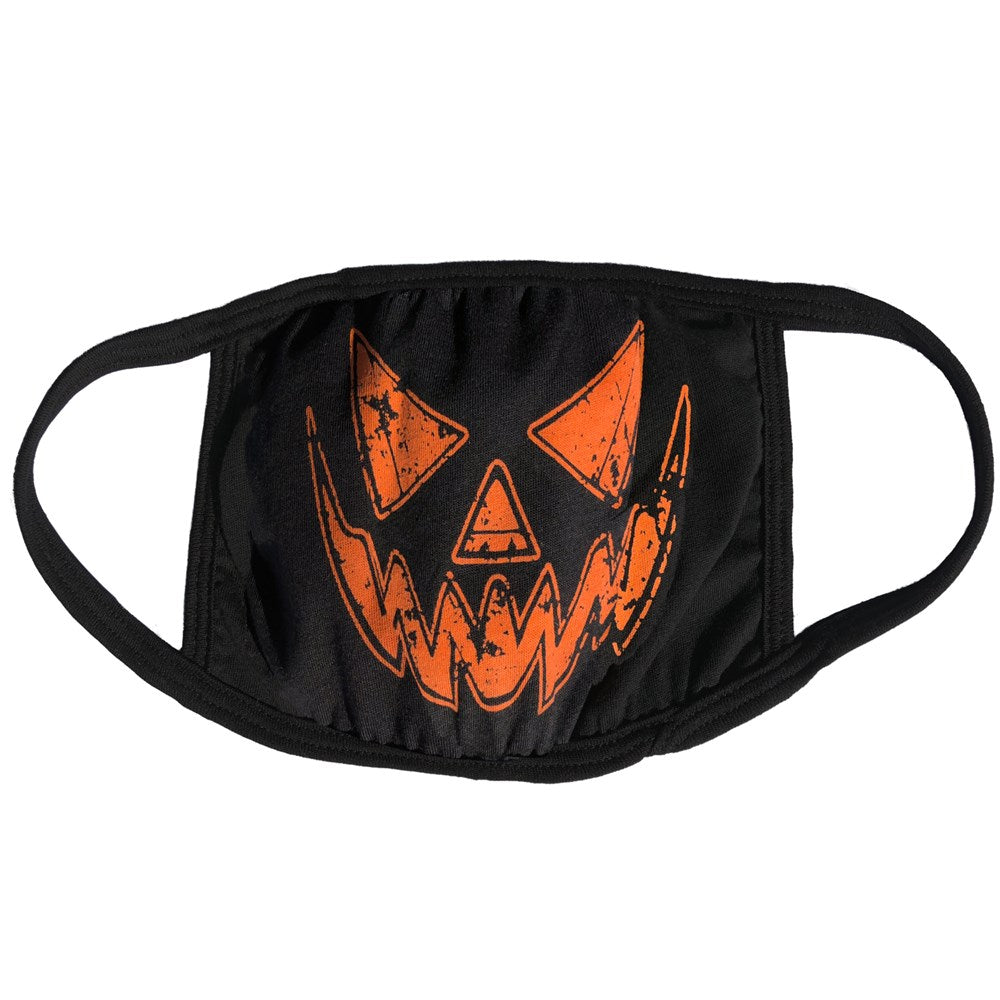 Black Distressed Pumpkin Face Mask