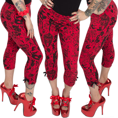 Devil Made Me Do It Red Capri Pants