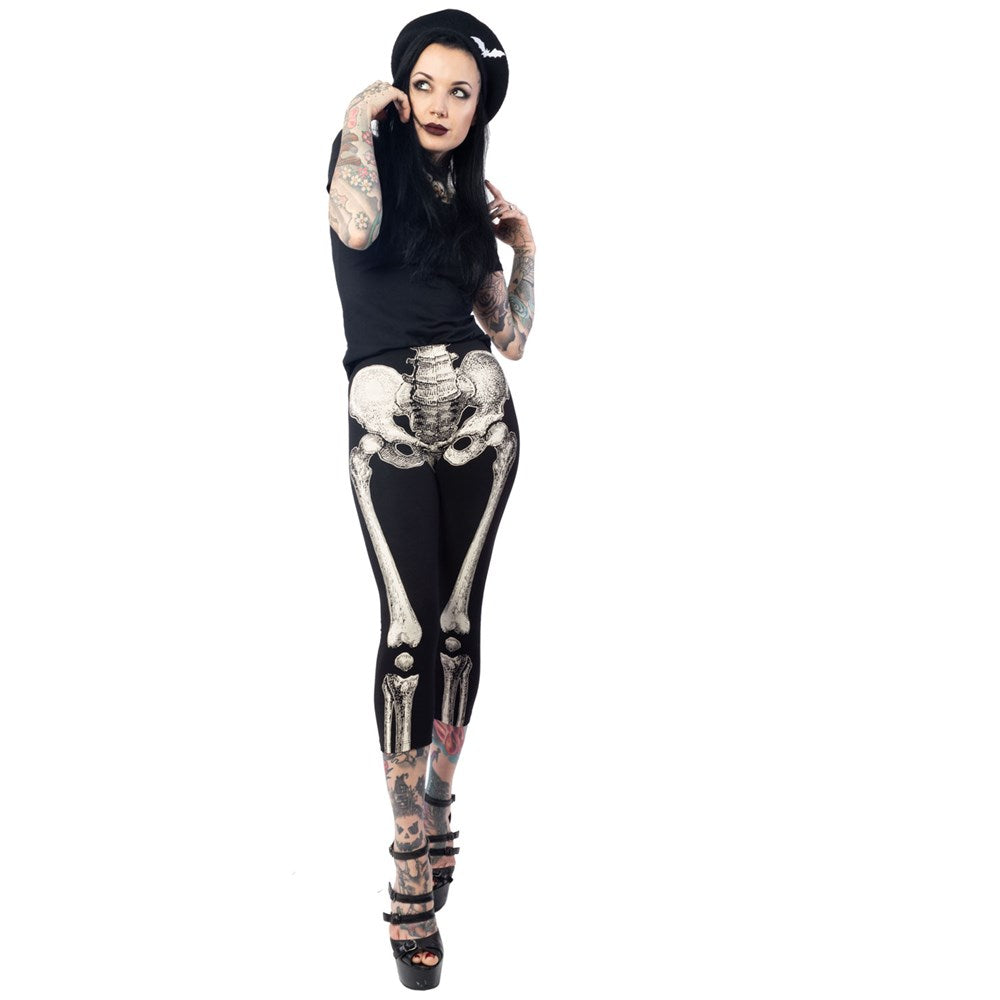 Skele-Bone White Capri Leggings