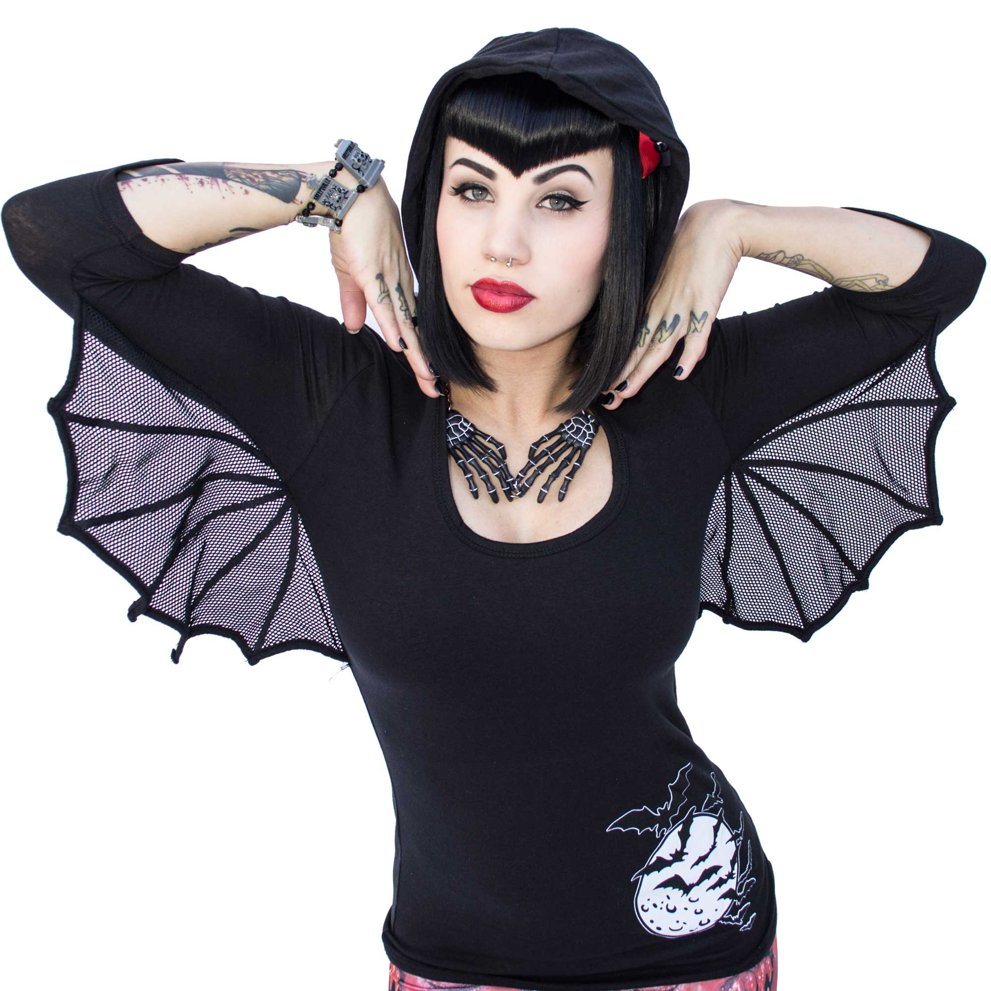 Bat Wing Hooded Tunic Top