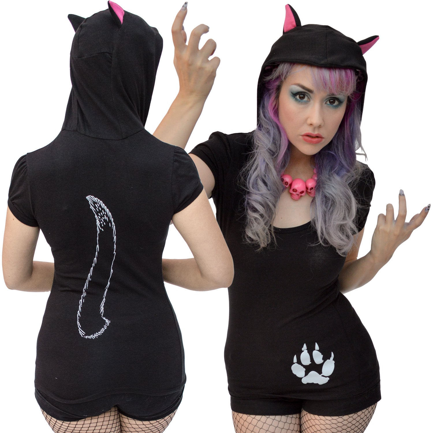 Black Cat Hoody Tunic Top