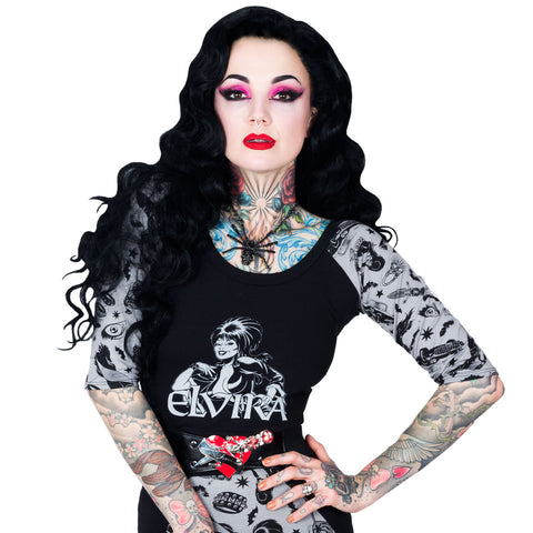 Elvira 3/4 Sleeve Comic Icons Tee