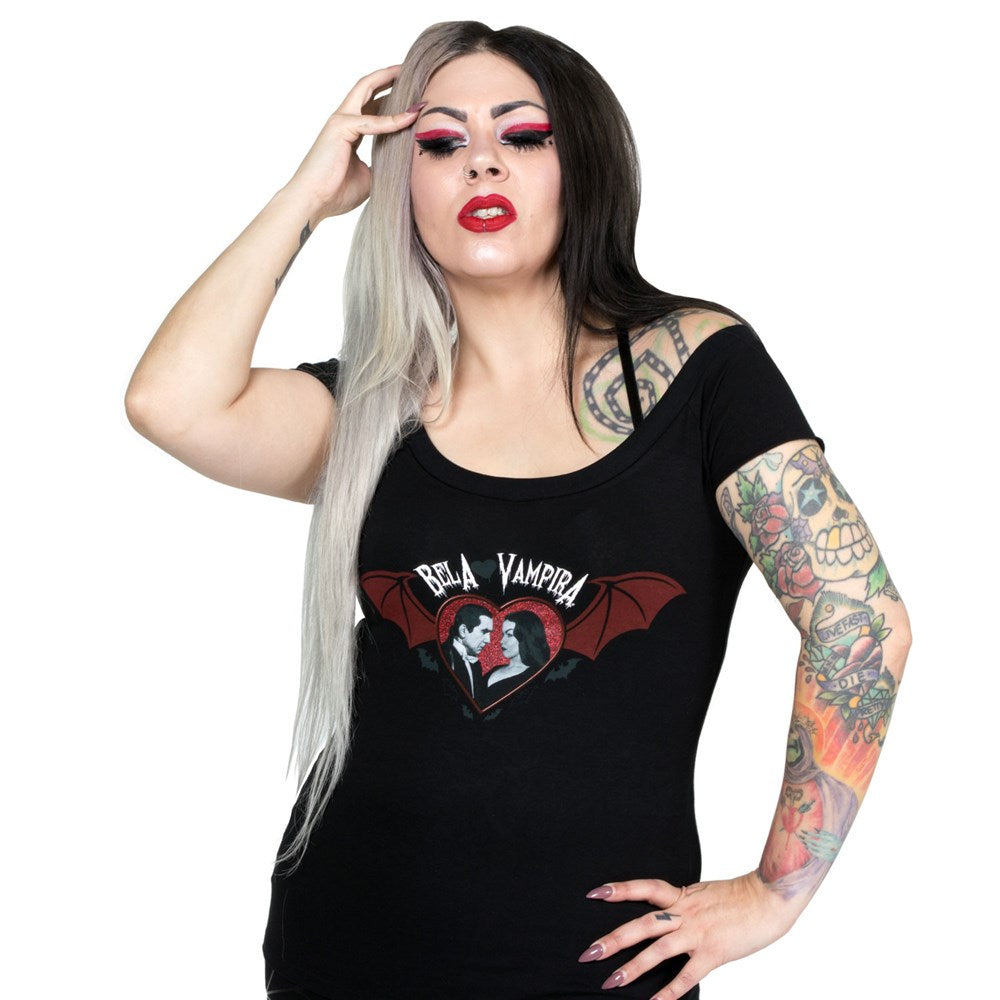 Bela loves Vampira Bat Wing Shoulder Tee