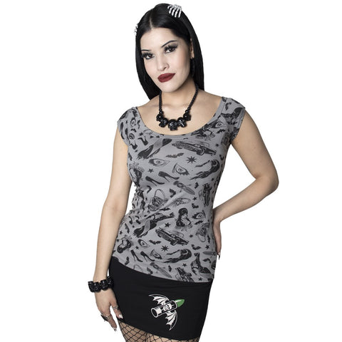 Elvira Comic Icons Grey Shoulder Tee