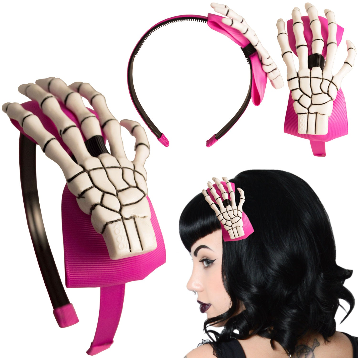 Skeleton Hand Alice Band Pink /White