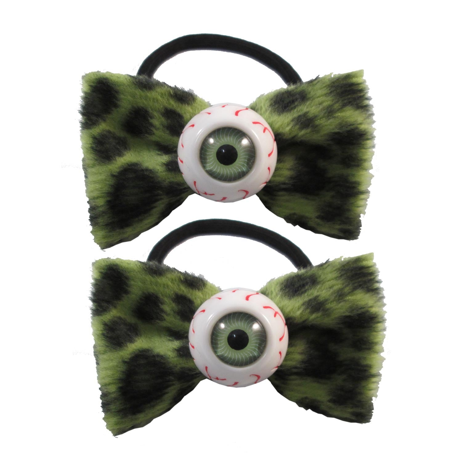 Eyeball Hairbow Bands Green Leopard