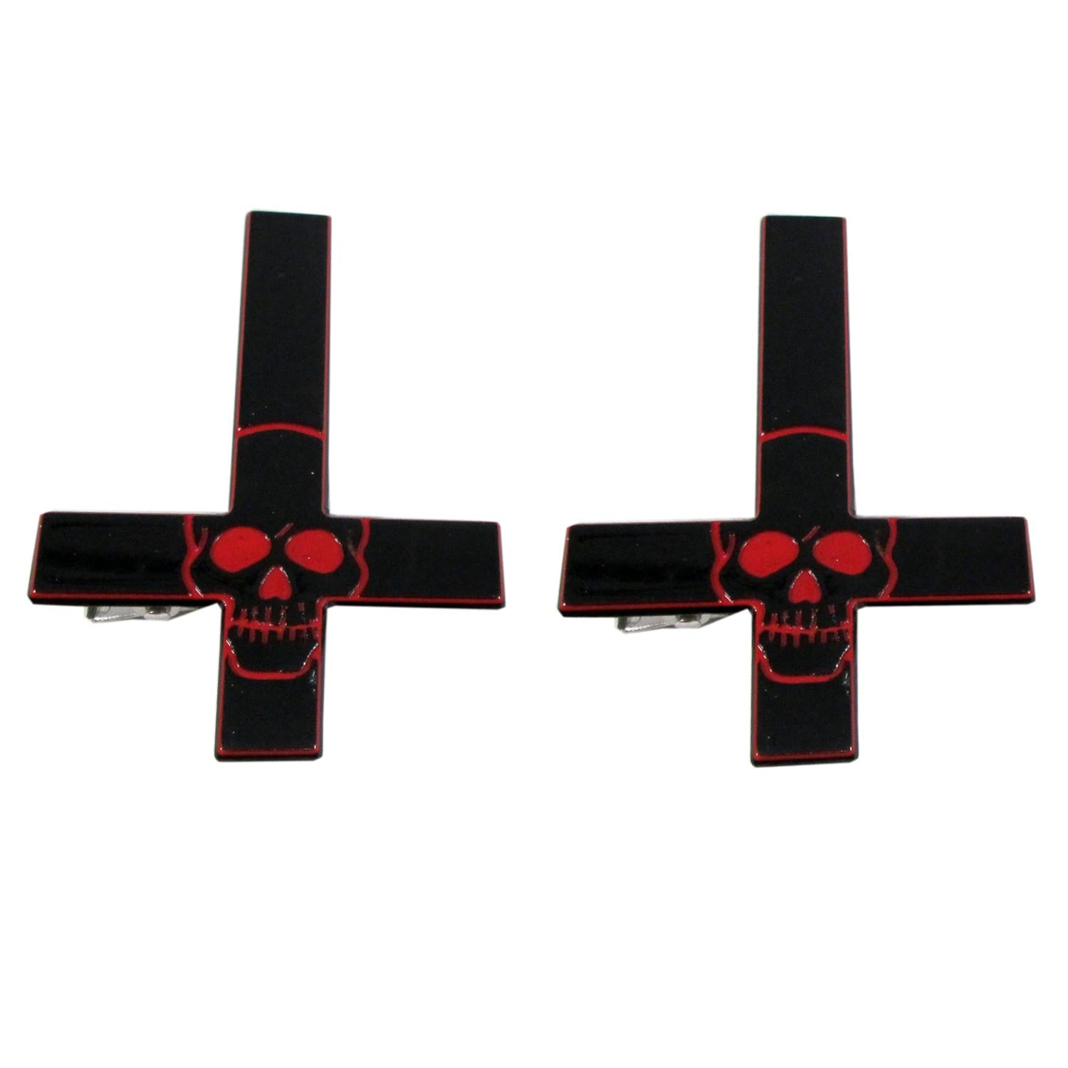 Inverted Cross Skull Hairslides Red