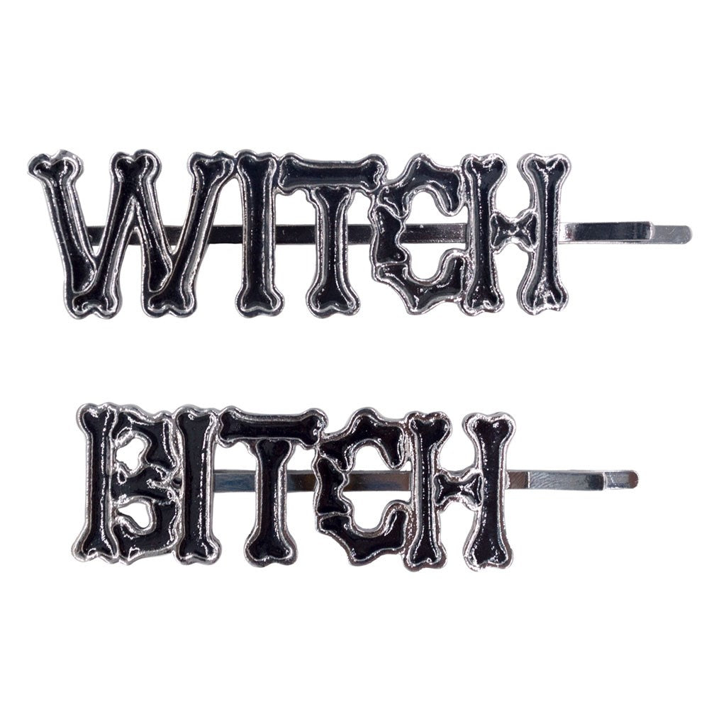 Witch Bitch Text Hair Slides