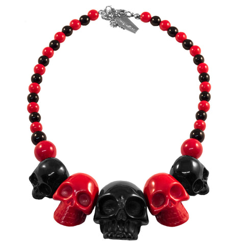 Skull Collection Necklace 2 Tone Black Red