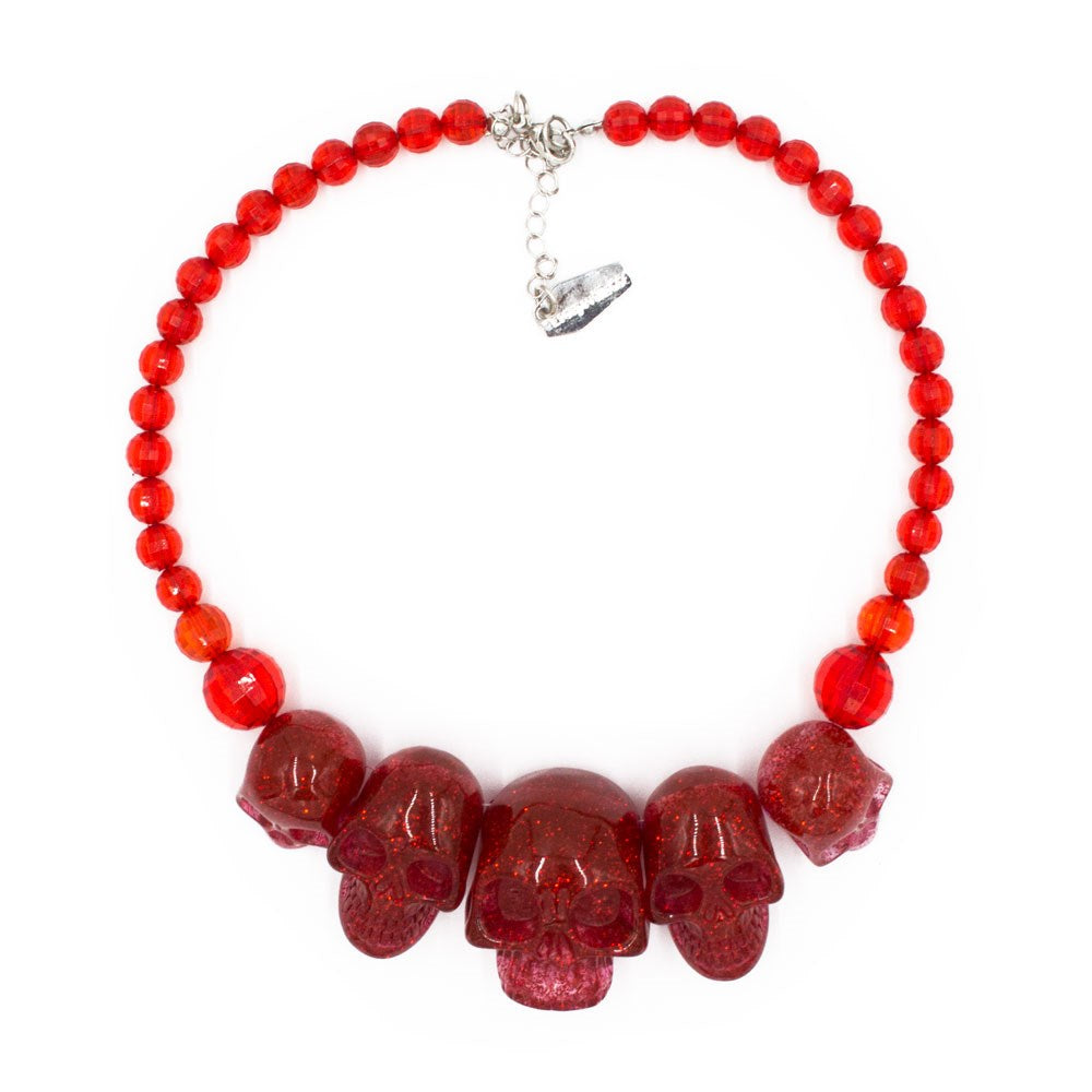 Skull Collection Necklace Red Glitter