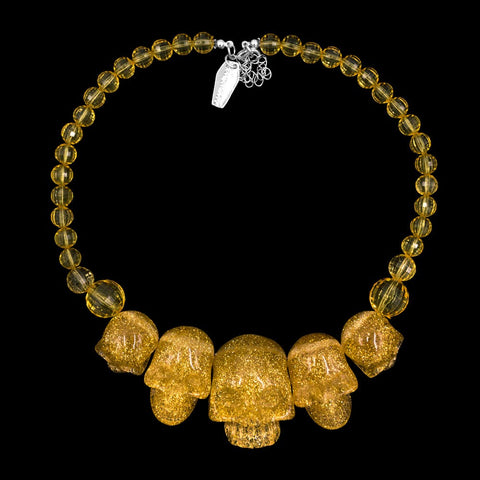 Skull Collection Necklace Gold Glitter