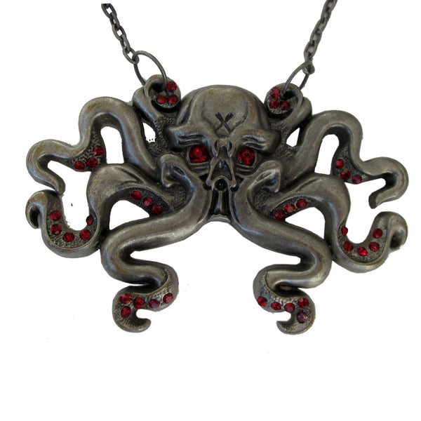 Octoskull Necklace Red Jewels