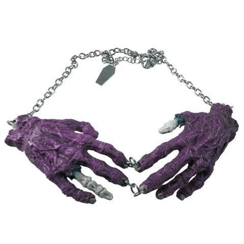 Purple Zombie Hands Necklace