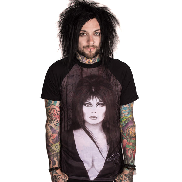 Elvira Glam Witch Raglan T- Shirt