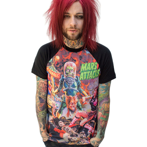 Mars Attacks Sin City Skinner Raglan T- Shirt