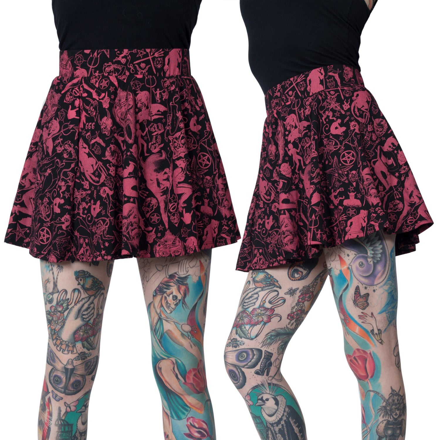Devil Made Me Do It Black Skater Skirt