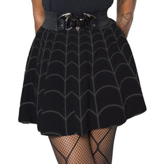 Spiderweb Grey Skater Skirt