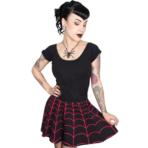 Spiderweb Red Skater Skirt