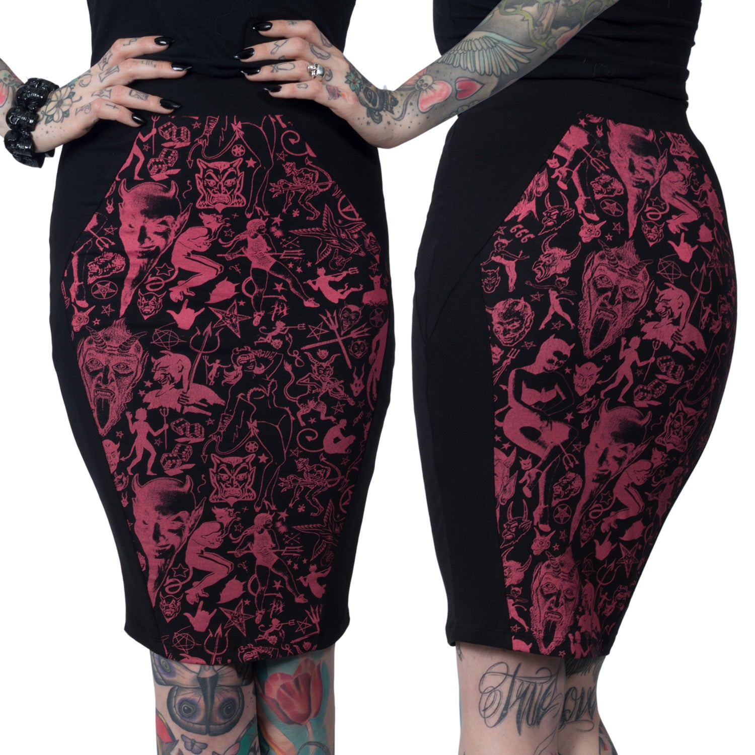 Devil Made Me Do It Black Coffin Pencil Skirt
