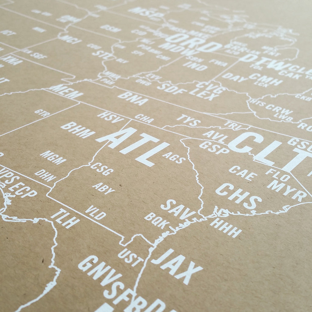 Now Shipping US Airport Code Map Screen Print NOMO Design - Us airport codes map