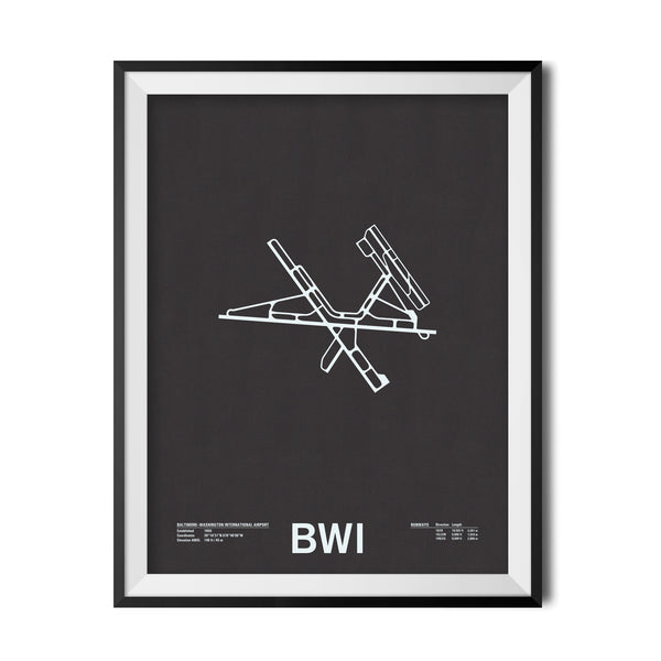BWI: Baltimore–Washington International Airport Screenprint