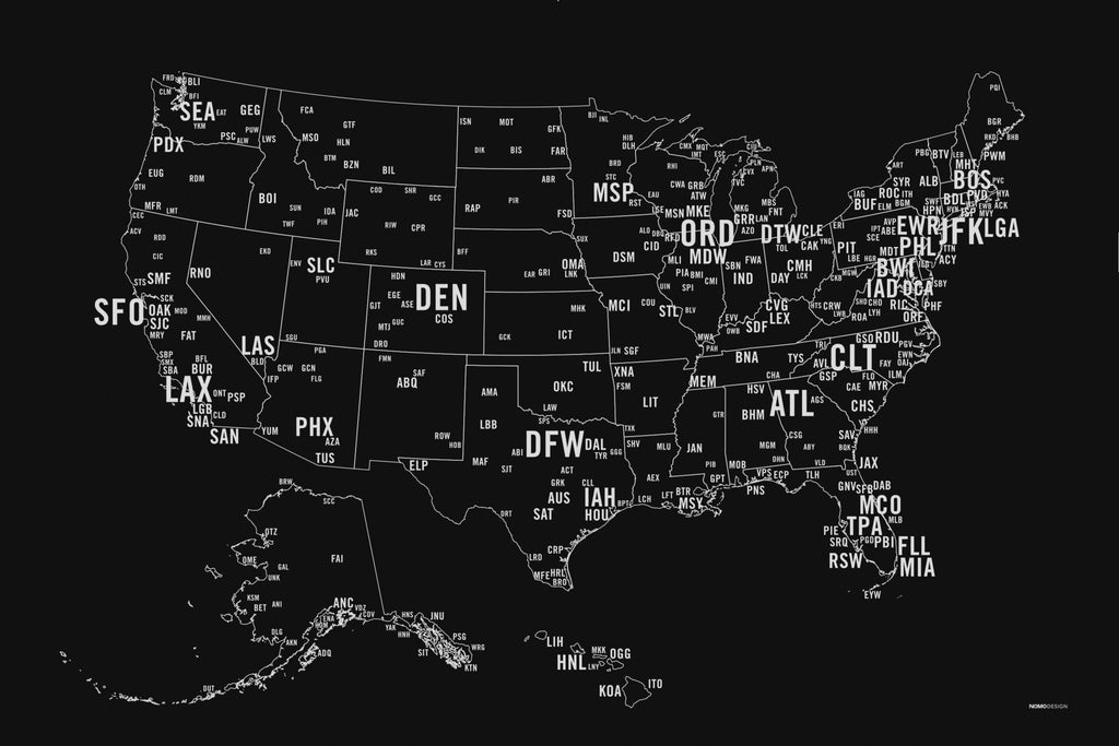 US Primary Airport Code Map Screen Print NOMO Design - Us map of airports