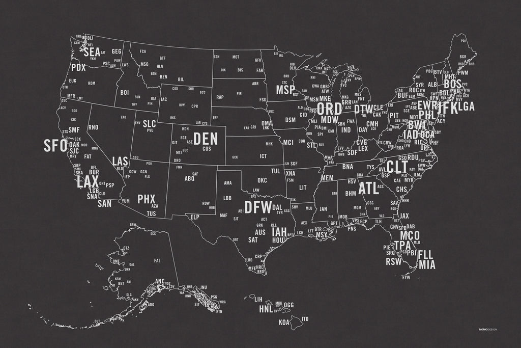 Us Primary Airport Code Map Screen Print Nomo Design - Us-map-with-airport-codes