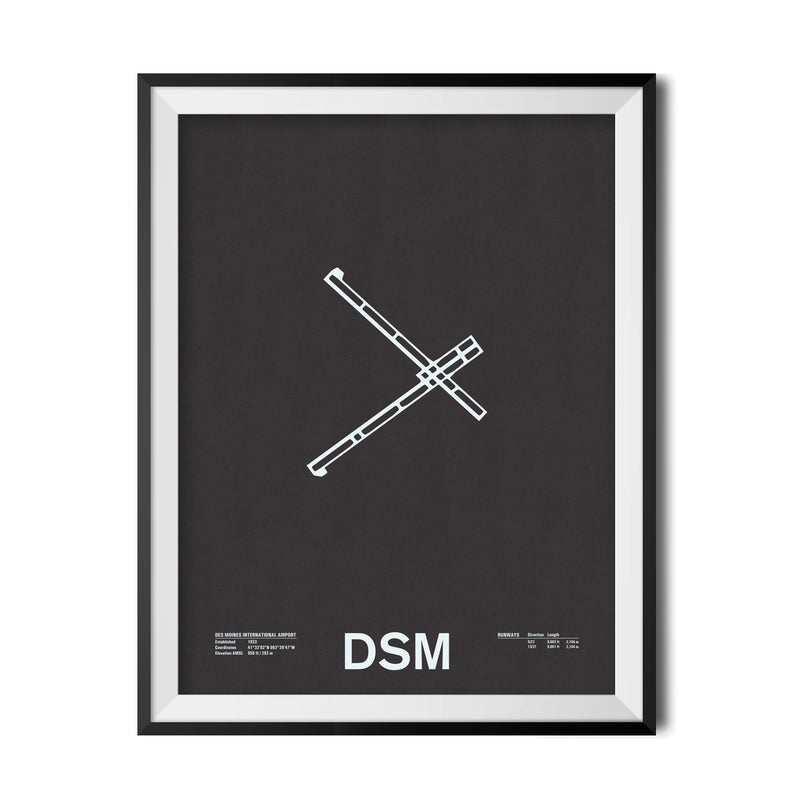 DSM: Des Moines International Airport Screenprint