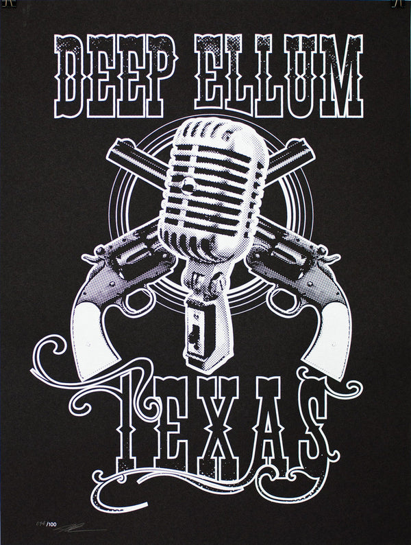 Deep Ellum Texas Pistols and Mic Screen Print