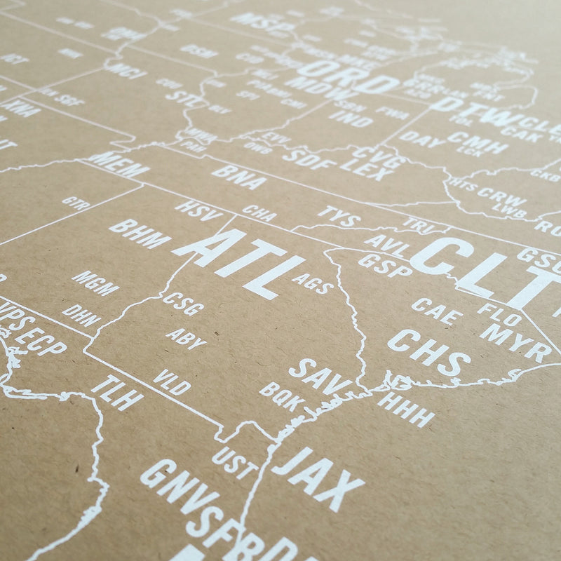 US Primary Airport Code Map Screen Print