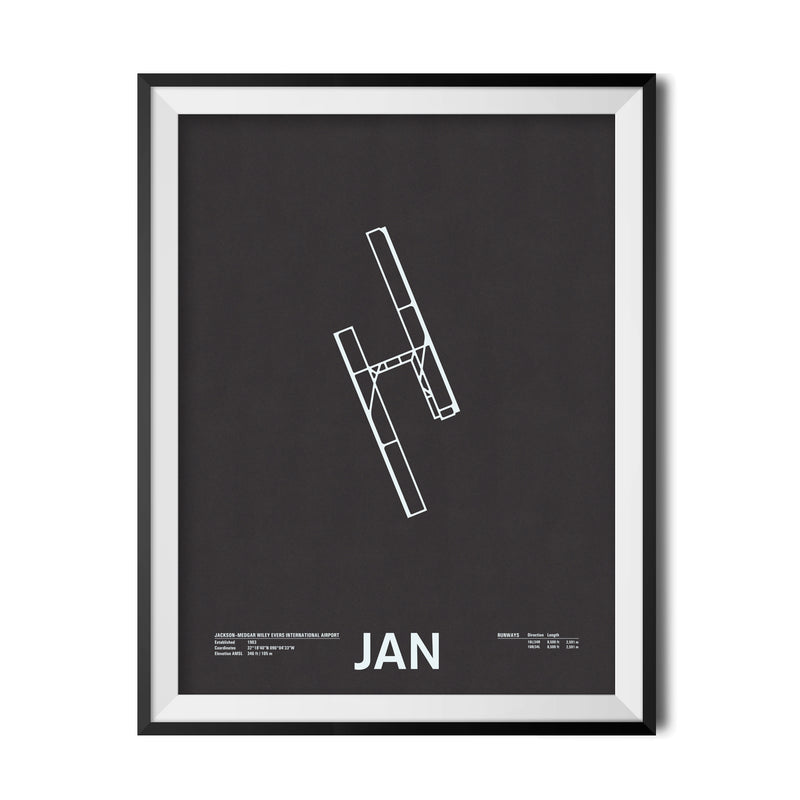 JAN: Jackson–Medgar Wiley Evers International Airport Screenprint