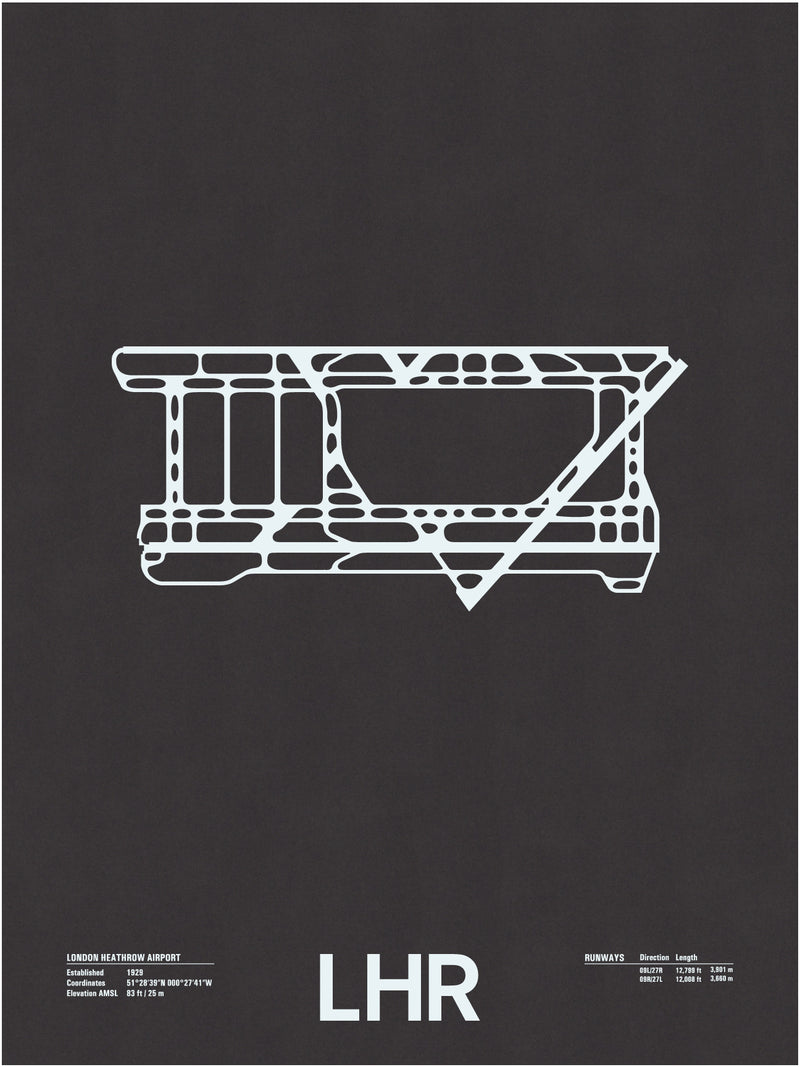 LHR: London Heathrow Airport Screenprint