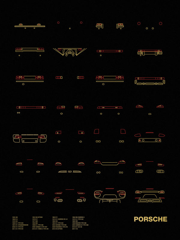 Auto Icon Screen Print Series: Porsche Tail Lights