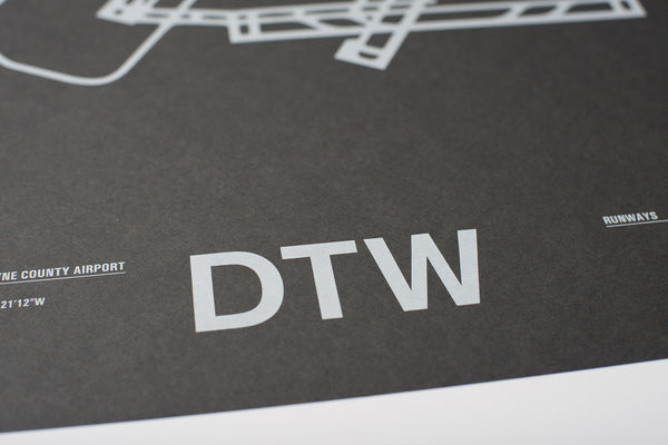 DTW: Detroit Metropolitan Wayne County Airport Screenprint