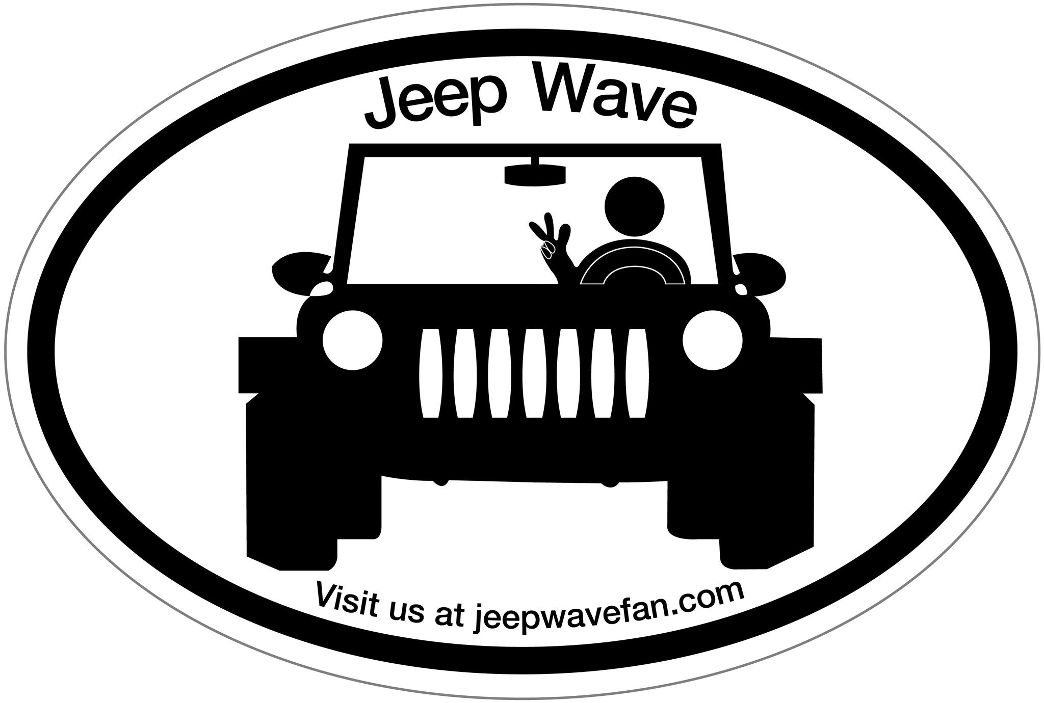 Jeep Wave Fan Bumper Sticker
