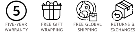 Free Worldwide Courier Shipping on Orders EUR120+ | Free Gift Wrapping | 5-Year Unconditional Warranty & Lifetime Repair/Resizing Service | Easy Returns