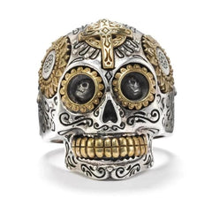 Calavera Sugar Skull Ring - Silver Phantom Jewelry