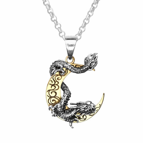 Gold Moon w/ Dragon Sterling Silver Pendant