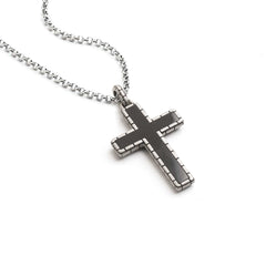 Herringbone Cross with Onyx Necklace - Silver Phantom Jewelry