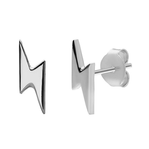 Lightning Bolt Stud Earrings - Silver Phantom Jewelry - 2