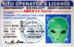 UFO-Alien Novelty Driver License