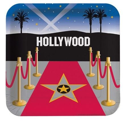 "Reel Hollywood 9"" Square Dinner Plates"