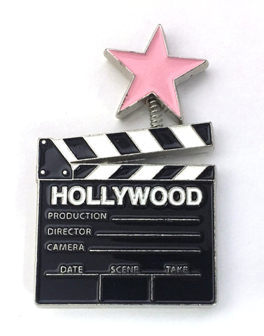 Clapboard with a Pink Star Magnet