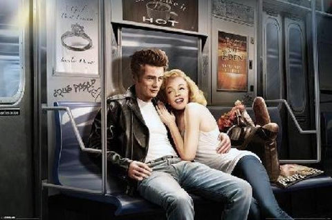James Dean And Marilyn Subway Poster