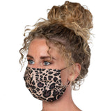 Re-usable Washable Designer Fabric Women's Face Covering Mask, Floral-Cheetah Patterns, 3 Pack