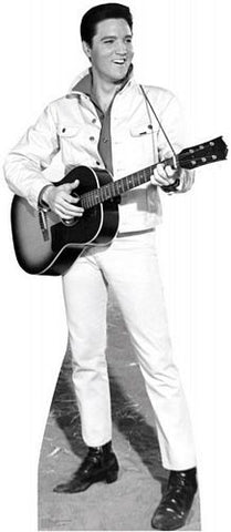 Elvis B&W White Jacket Lifezise Cardboard Cutout #1350