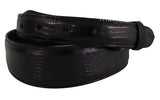 "Belt: Style #204 1.5"" to 1"" Taper Black Genuine Teju Lizard - AL BERES"