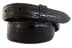 "Belt: Style #304 1.5"" to 1"" Taper Black Glossy American Alligator - AL BERES"