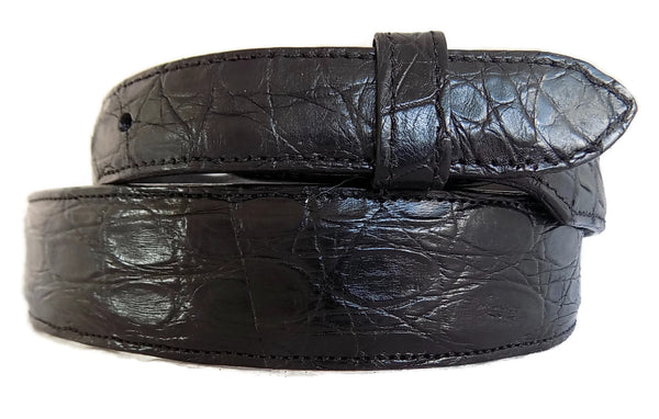 "Belt: Style #604 1.5"" to 1"" Taper Black Matte American Alligator - AL BERES"