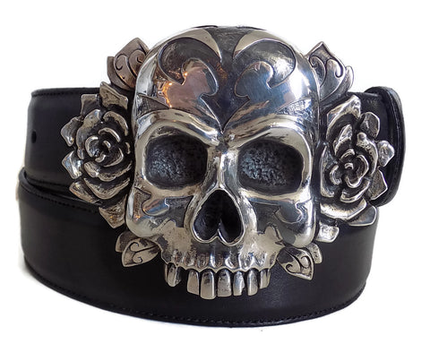 "1½"" TRIBAL SKULL ""Buckle Only"" with Bones on Back Plate in .925 Sterling Silver - AL BERES"